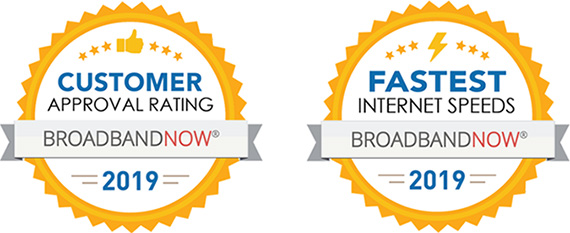 Awarded Fastest Internet Speeds 2019 by BroadbandNow